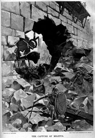 Siege of Halicarnassus - Capture of Miletus: Andre Castaigne (1889-99)